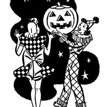 Girls in Halloween costumes and pumpkin, Halloween illustration by AmorOmniaVincit
