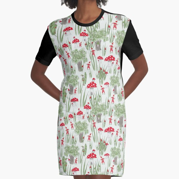 Gnome Hide-and-Seek Graphic T-Shirt Dress
