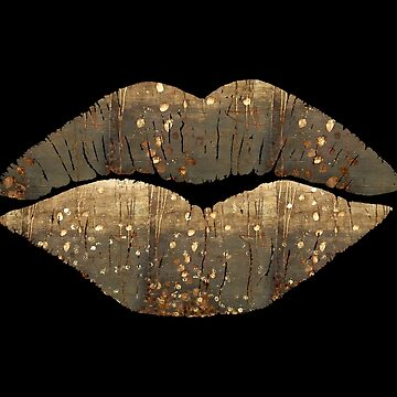 Golden Dreams Kissing Lips Fashion art by Glimmersmith