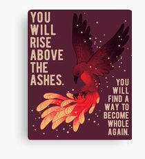 """""""You Will Rise Above the Ashes"""" Phoenix Canvas Print"""