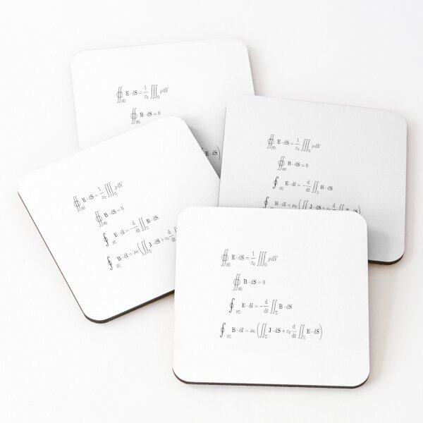 Maxwell's equations, #Maxwells, #equations, #MaxwellsEquations, Maxwell, equation, MaxwellEquations, #Physics, Electricity, Electrodynamics, Electromagnetism Coasters (Set of 4)