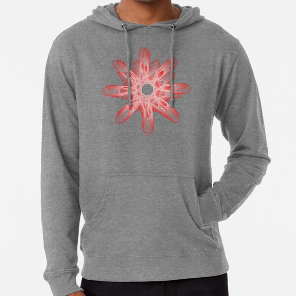 Spirals with Red and White Lightweight Hoodie