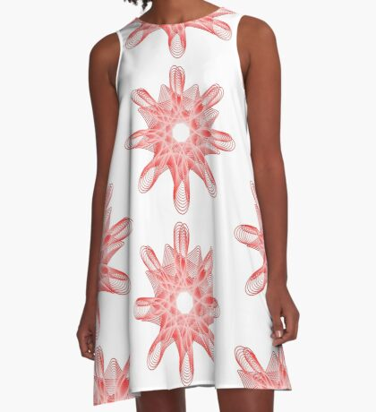Spirals with Red and White A-Line Dress