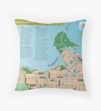 Vancouver cycling map, 2005 Throw Pillow