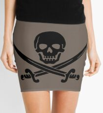 Pirate Flag Skull and Crossed Swords by Chillee Wilson Mini Skirt