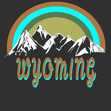 Retro Wyoming mountains graphic design  by jhussar
