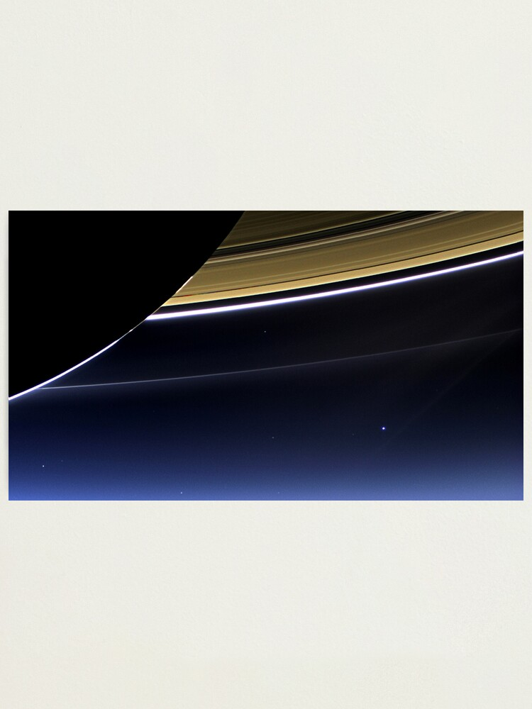 Alternate view of Earth and Saturn - The Day Earth Smiled  Photographic Print