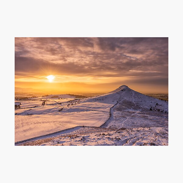 Roseberry Topping Snowy sunset Photographic Print