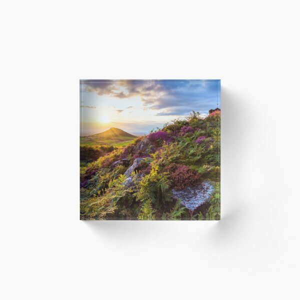 Roseberry Topping Sunset Heather North York Moors UK Acrylic Block