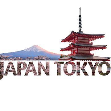 Tokyo Japan Mount Fuji red Chureito Pagoda Souvenir by peter2art