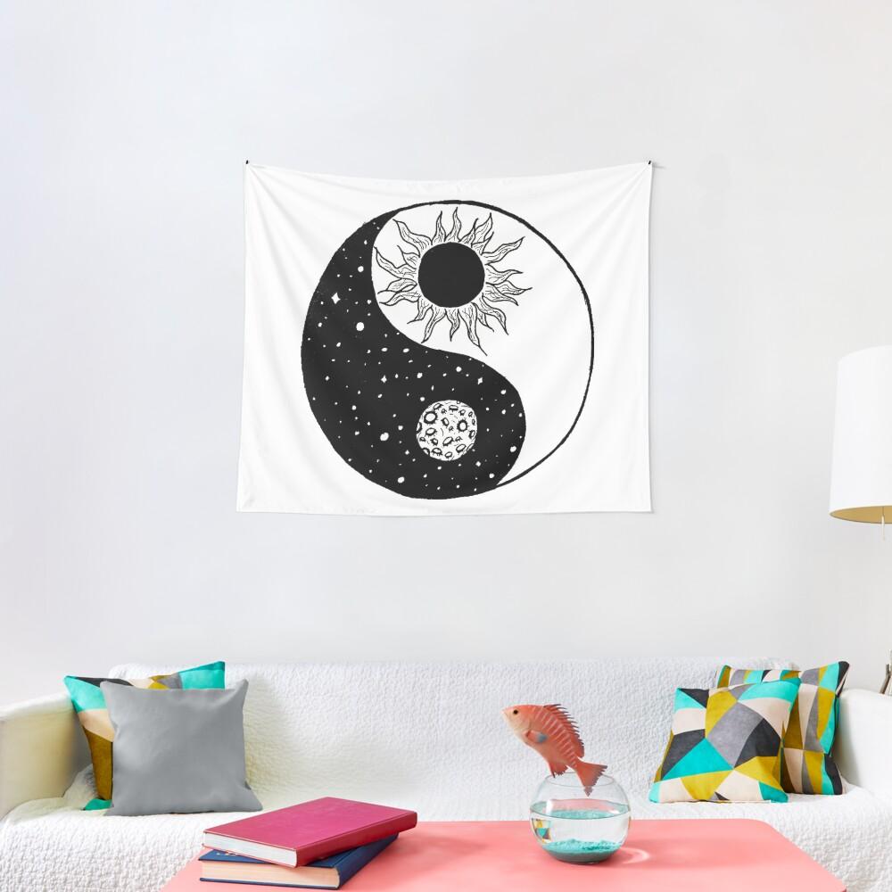 Sun and Moon Yin and Yang  Tapestry