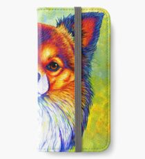 Colorful Long Haired Chihuahua Dog iPhone Wallet/Case/Skin