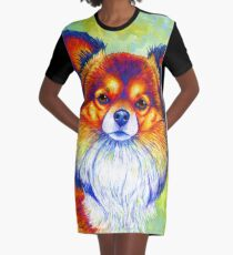 Colorful Long Haired Chihuahua Dog Graphic T-Shirt Dress