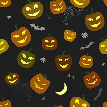 Halloween Pattern Pumpkins and spiders by lantica