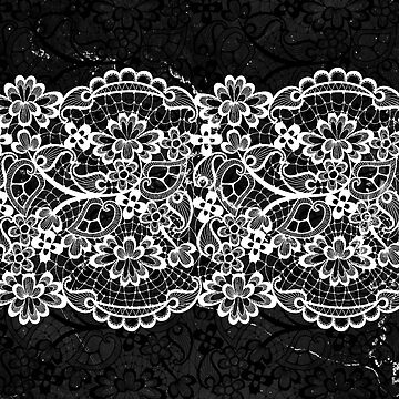 Black and White Lace Ornamental Pattern on Marble by cadinera