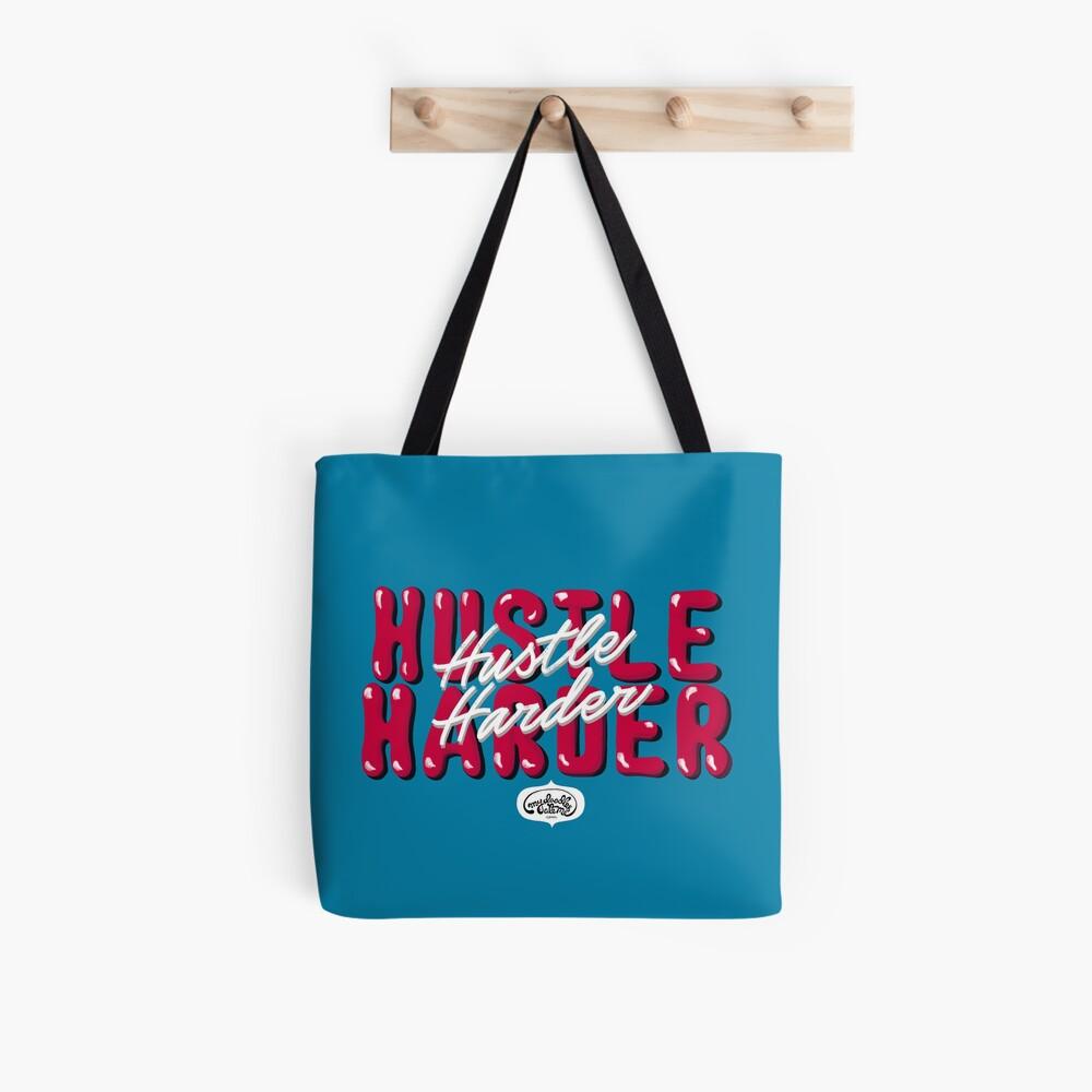 Hustle Harder Pop Culture Lettering Art (Blue) Tote Bag