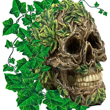 Unique Cool Tree Spirit Skull With Ivy by Atteestude