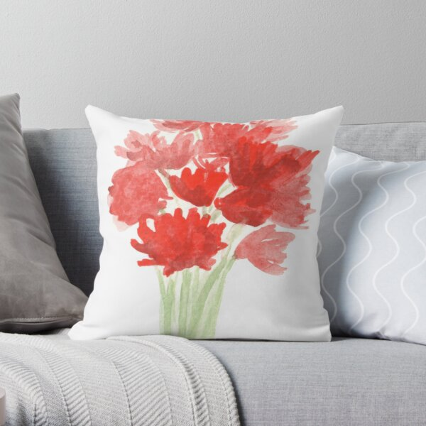 Red Azalea Flower Bouquet original watercolor painting Throw Pillow