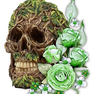 Unique Cool Floral Tree Spirit Skull by Atteestude