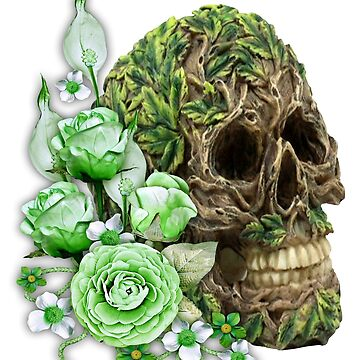 Unique Cool Tree Spirit Skull With Green Flowers by Atteestude
