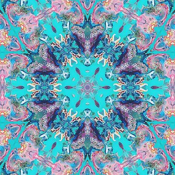 Summer Buds - Pink Turquoise Kaleidoscope Art by Fluid Nature by vmajzlik