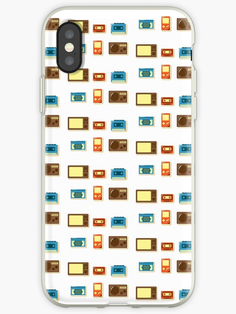 80s Retro Household Electronics - Video Games Television Radio Cassette Tape Walkman in Repeat Pattern by enjoyeverything