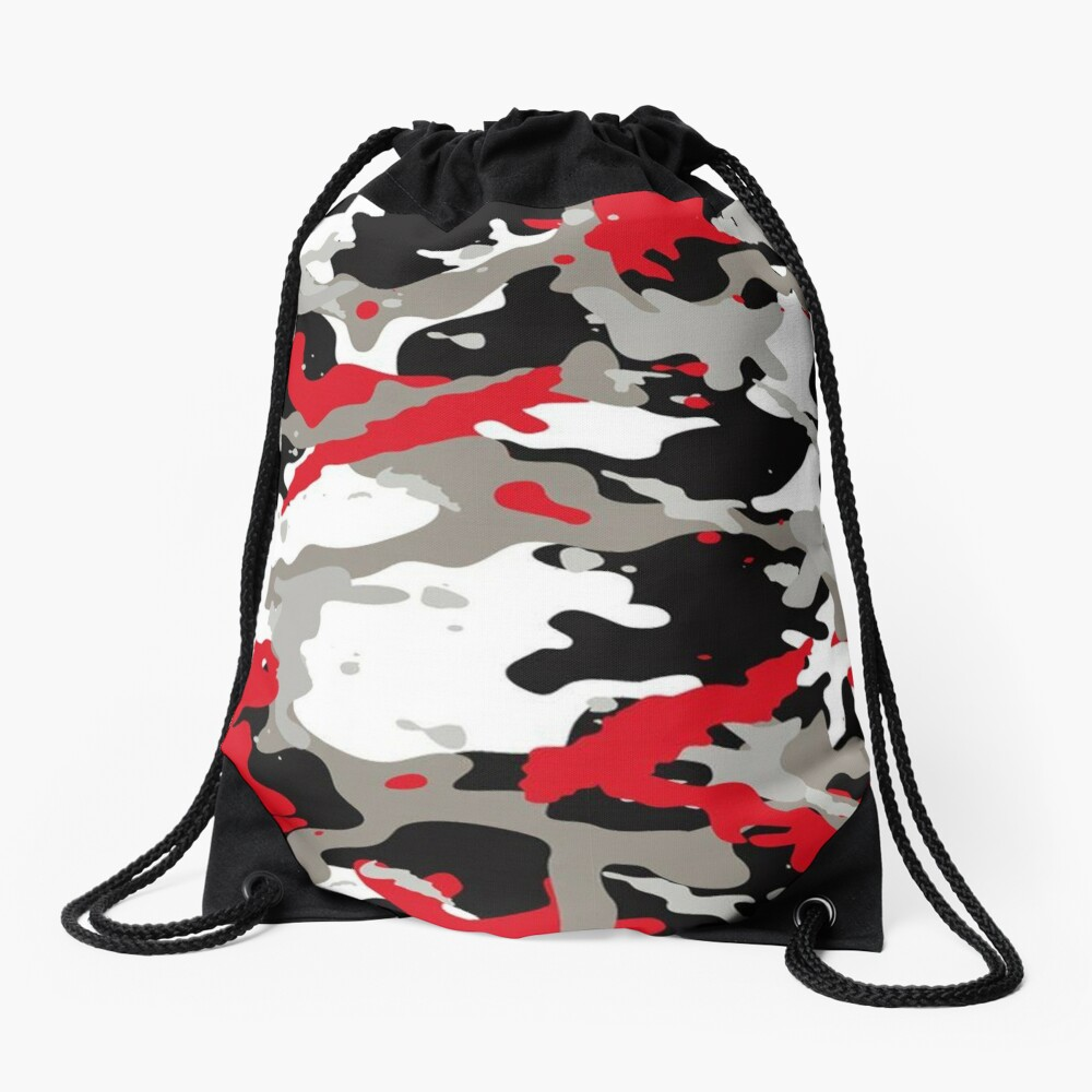 Red and Grey Camouflage Drawstring Bag