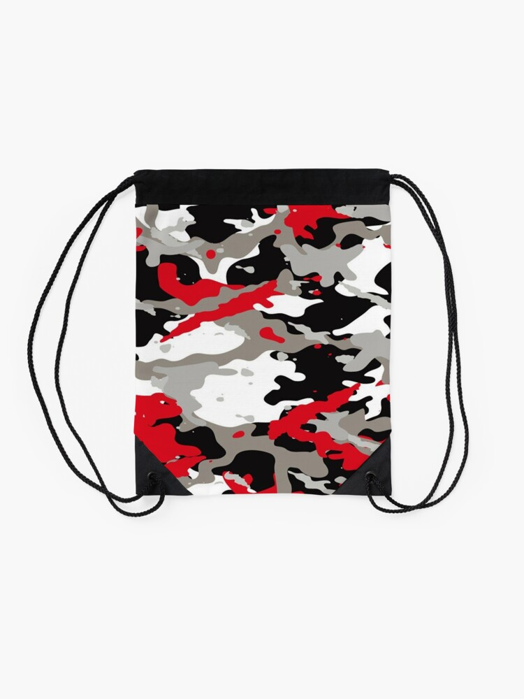 Alternate view of Red and Grey Camouflage Drawstring Bag