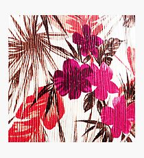 Abstract colorful pink red brown floral pattern Photographic Print