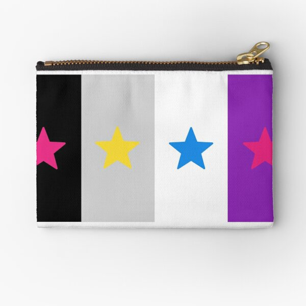 Panromantic Stars Asexual Flag Stripes Asexual T-Shirt Zipper Pouch