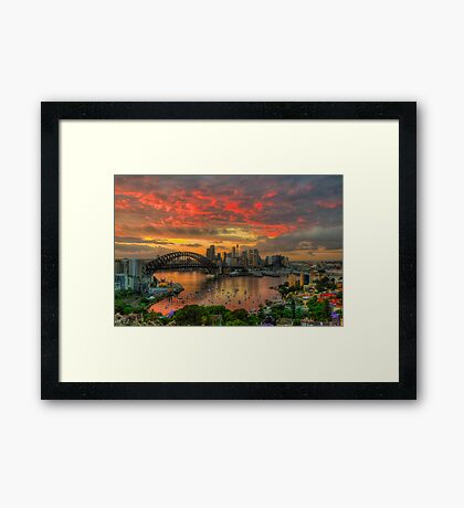 Oh What a Beautiful Morning - Moods Of A City,Sydney Australia - The HDR Experience Framed Print