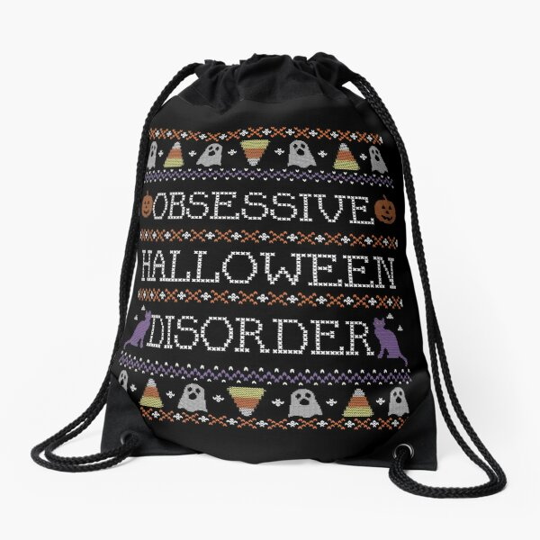 Ugly Halloween Sweater, Obsessive Halloween Disorder Drawstring Bag