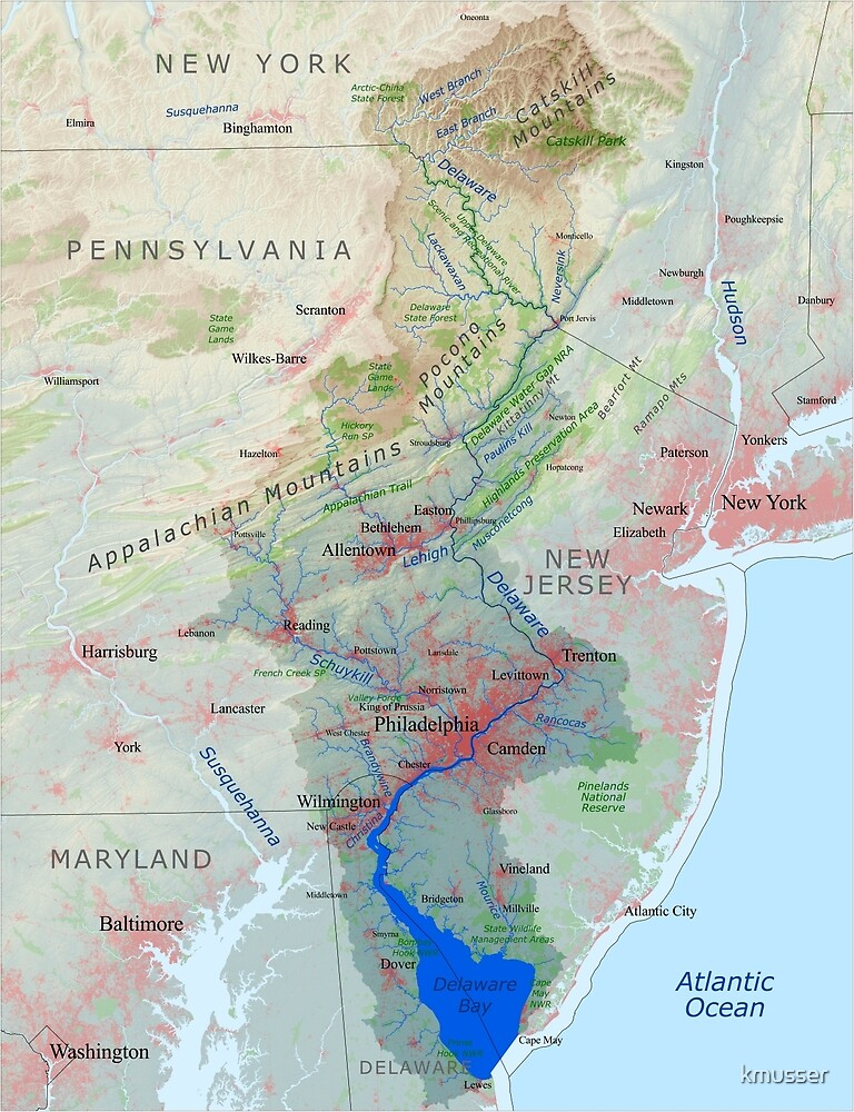 Delaware River Watershed Map - Labeled by kmusser