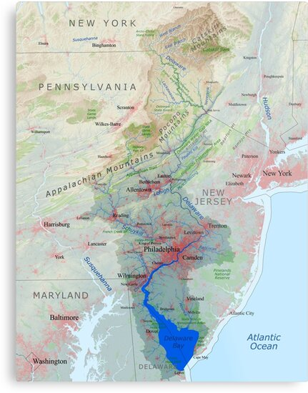 Delaware River Watershed Map Labeled Metal Prints By Kmusser