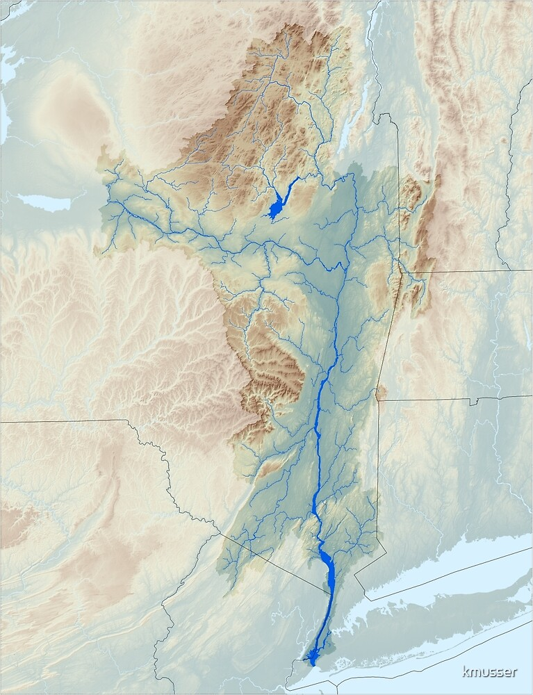 Hudson River Watershed Map - Raw Landscape by kmusser