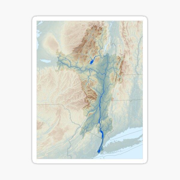 Hudson River Watershed Map - Raw Landscape Sticker