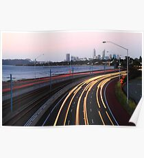 Kwinana Freeway Traffic At Dusk  Poster