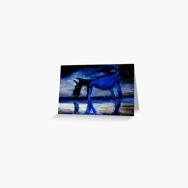 walking with the old blue dog Greeting Card