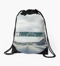 Los Angeles Road Sign California Drawstring Bag