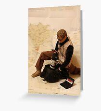 War Journalist Figurine - Retrieving gears Greeting Card