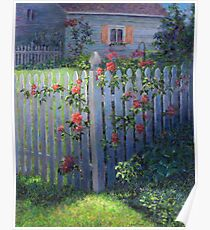 Clematis on a Picket Fence Poster
