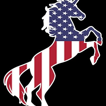 Unicorn United States Of America Flag Gift by Reutmor