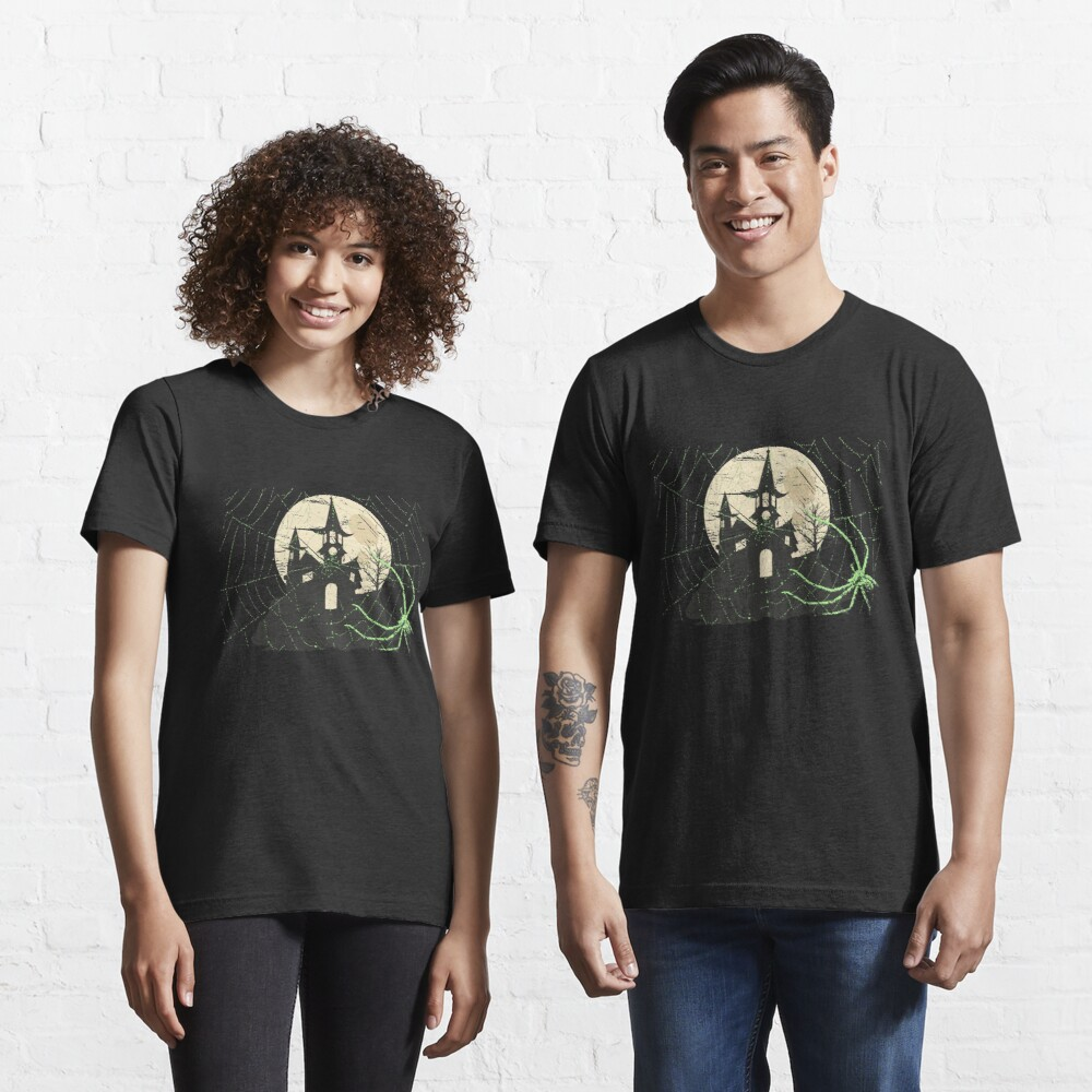 Spider Halloween Haunted Moon House - Scary Halloween Gift Essential T-Shirt