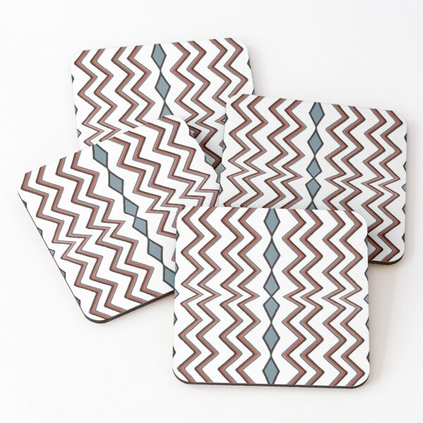 #pattern #abstract #wallpaper #seamless #chevron #design #texture #geometric #retro #blue #white #zigzag #decoration #illustration #fabric #paper #red #green #textile #backdrop #color #yellow #square Coasters (Set of 4)