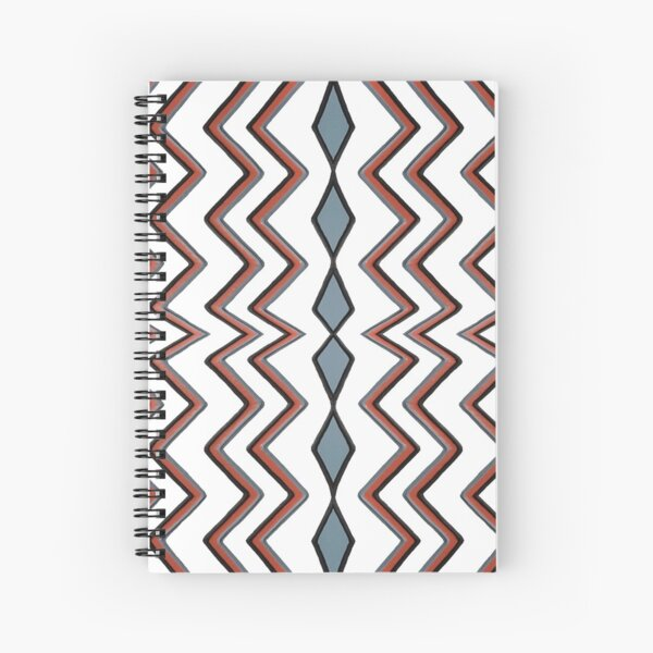 #pattern #abstract #wallpaper #seamless #chevron #design #texture #geometric #retro #blue #white #zigzag #decoration #illustration #fabric #paper #red #green #textile #backdrop #color #yellow #square Spiral Notebook
