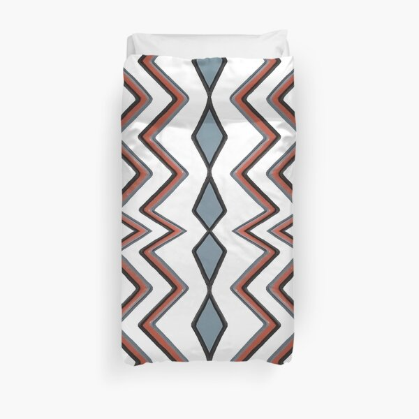 #pattern #abstract #wallpaper #seamless #chevron #design #texture #geometric #retro #blue #white #zigzag #decoration #illustration #fabric #paper #red #green #textile #backdrop #color #yellow #square Duvet Cover