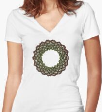 Celtic Knotwork Tree Wreath Women's Fitted V-Neck T-Shirt