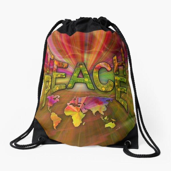 Teach Peace Globally Drawstring Bag