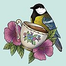 Autumnal bird on a teacup by Wieskunde