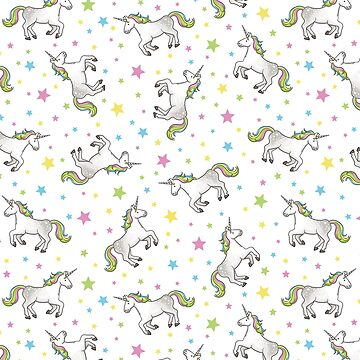 Unicorns and Stars - White and Rainbow scatter pattern by HazelFisher